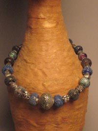 Chinese Repousse Silver Bead with Frit Beads