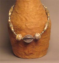 Rajasthan Granulated Guadrooned or Melon Bead with Silvered Ivory Glass Beads