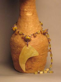 Turtle Shell with Gold Beads Necklace